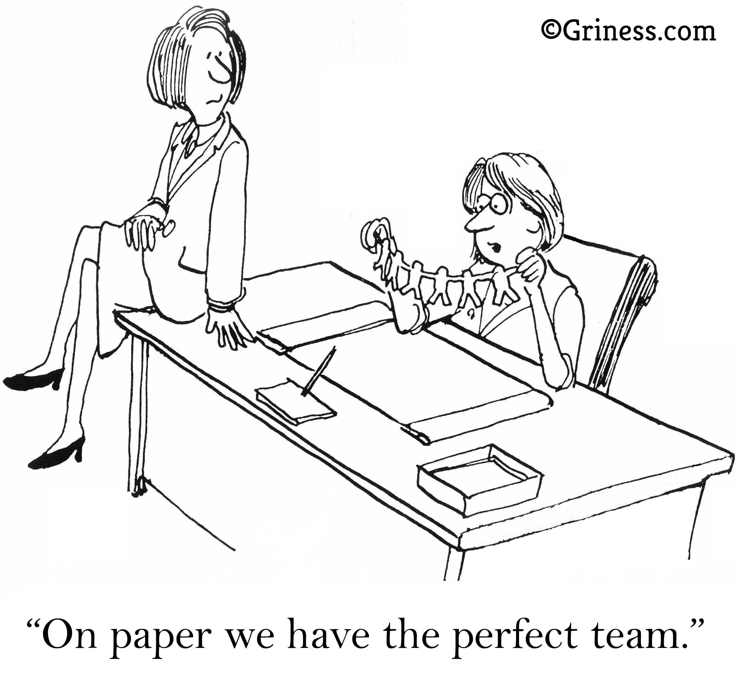 on paper we have a perfect team business cartoons free