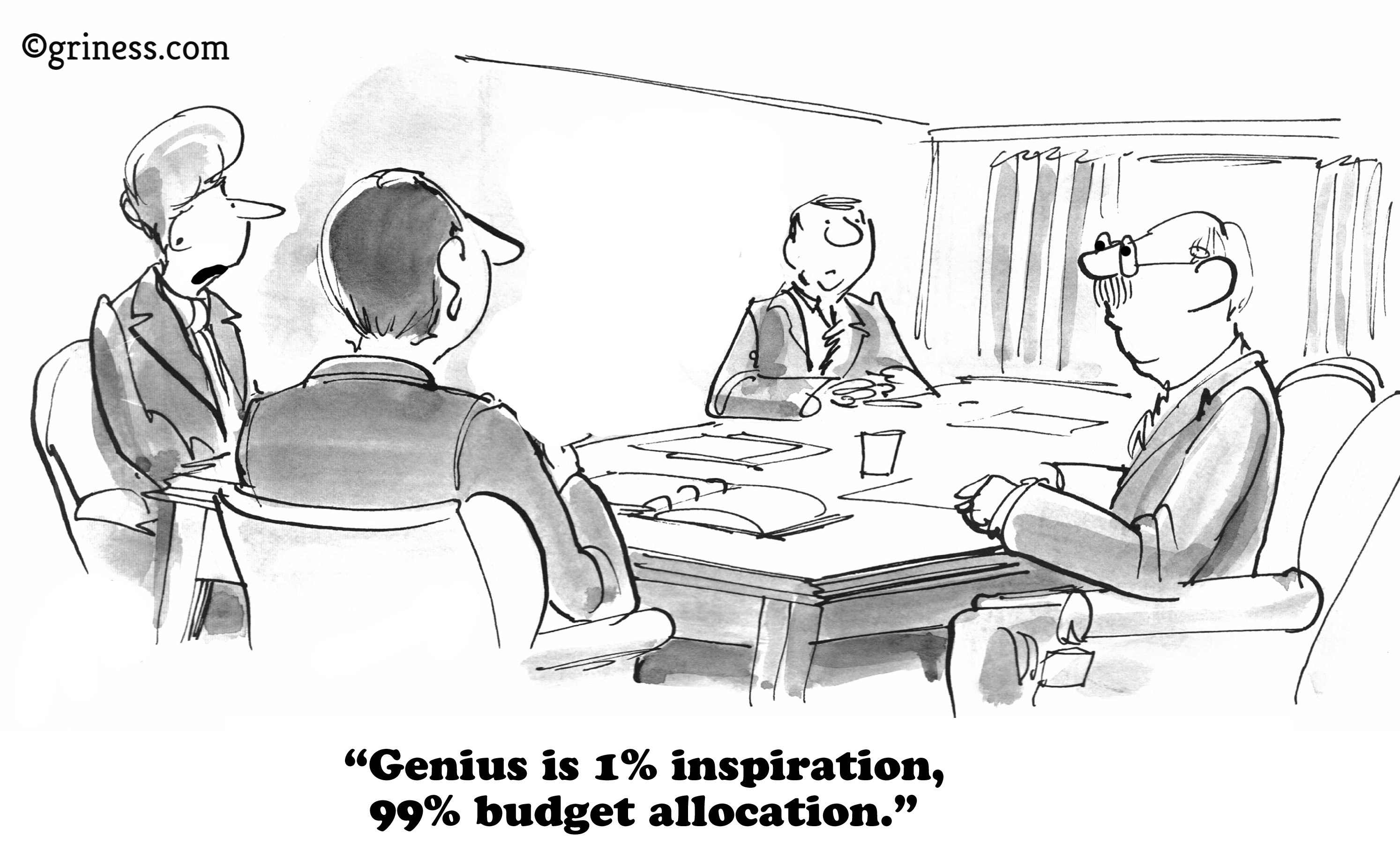 genius is 1 percent inspiration and 99 percent budget allocation_business cartoons free_corporate humor