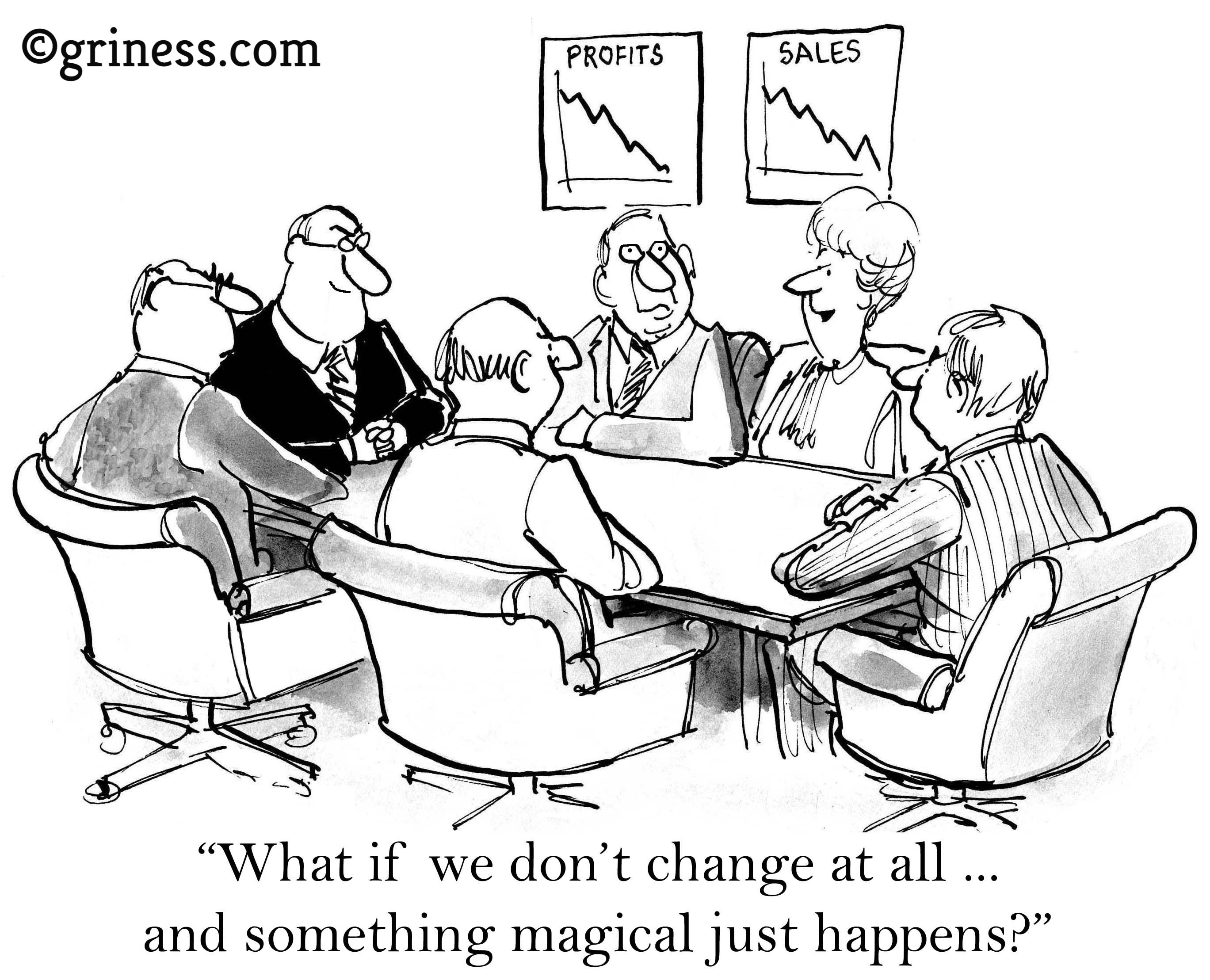 what if dont change at all and something magical just happen griness com business cartoons free corporate humor