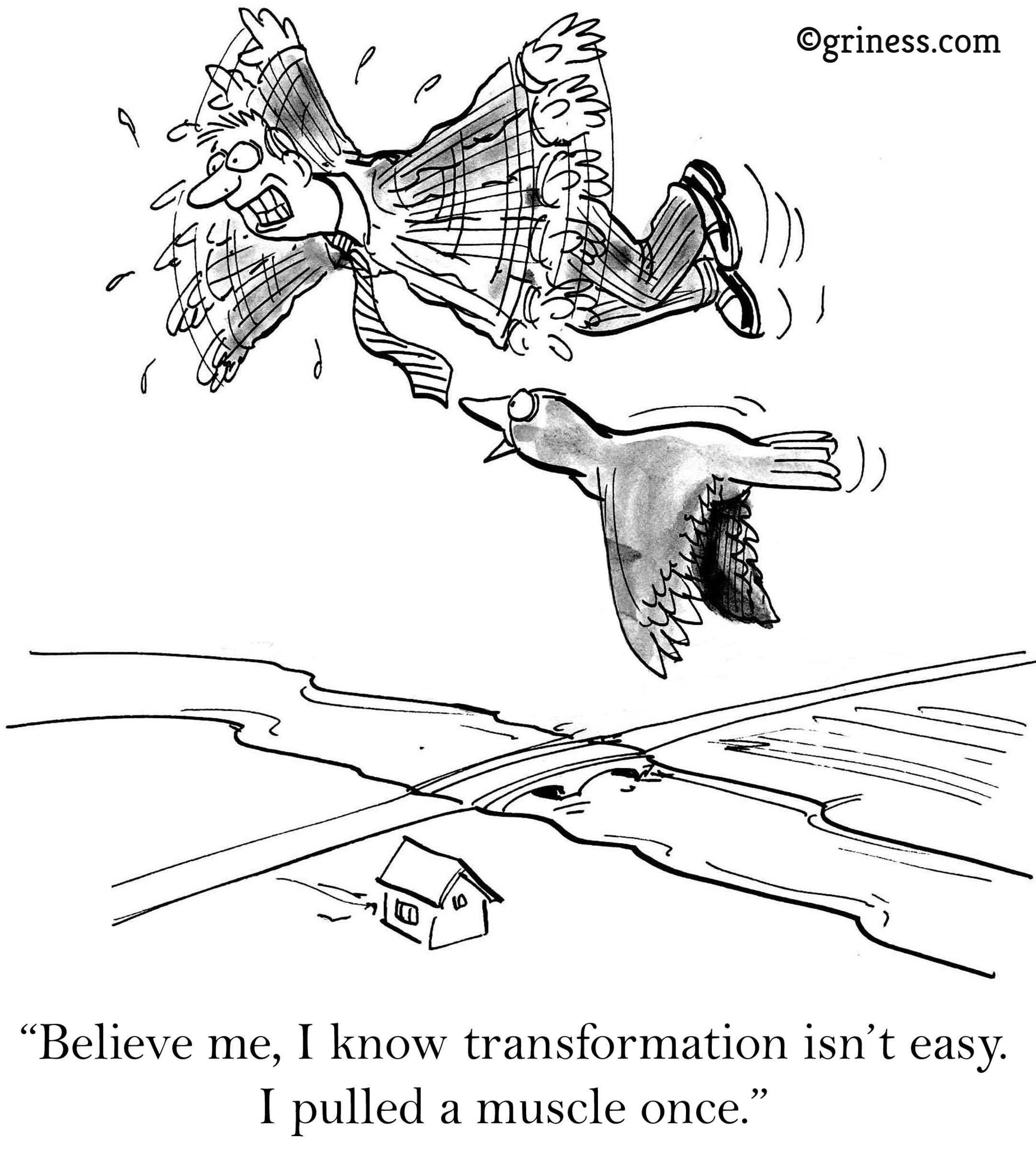 believe me i know transformation is not easy i pulled a muscle once corporate humor cartoons free
