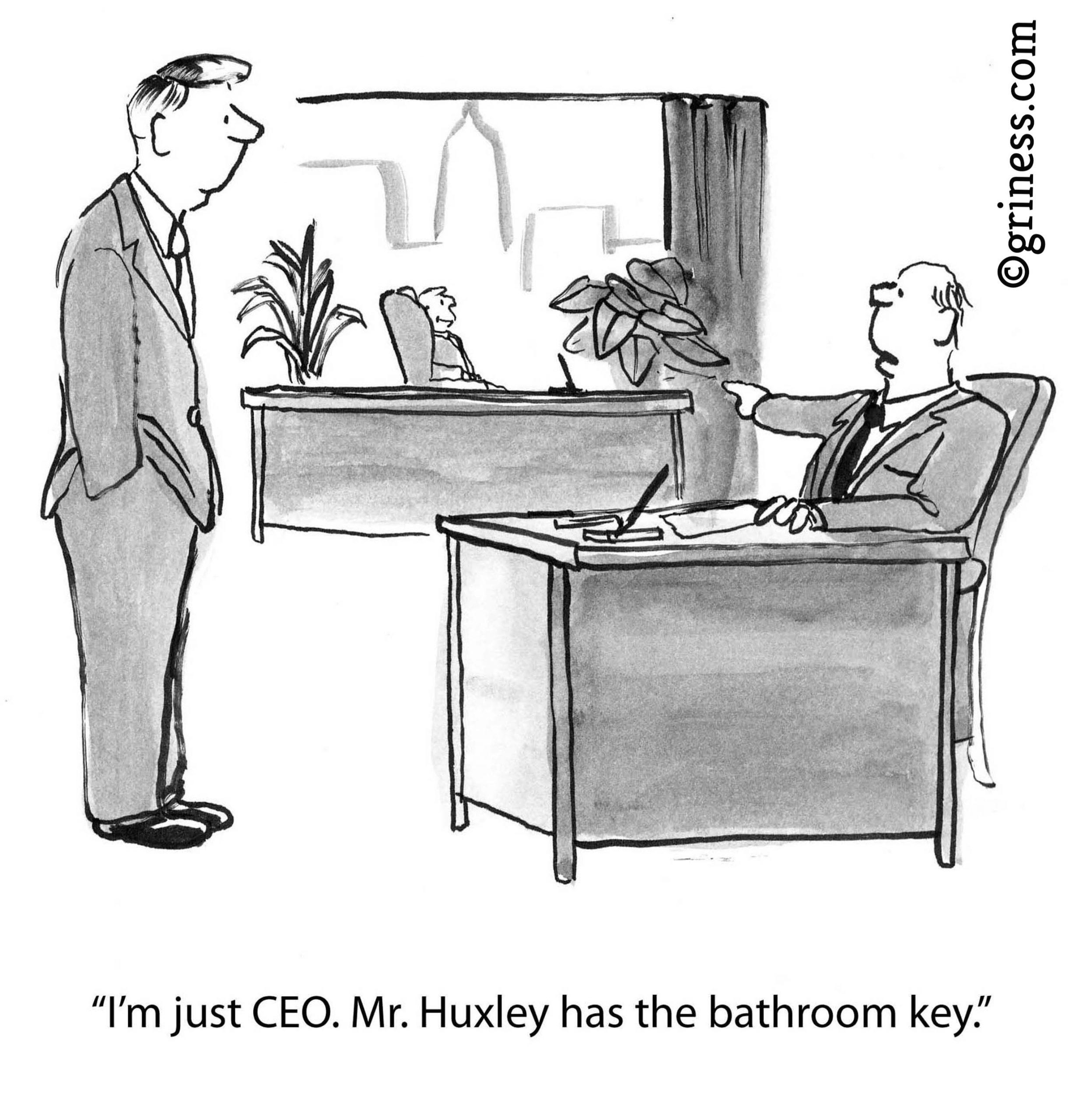 i am just ceo. mr huxley has the bathroom key 02 Feb 2020 business cartoon